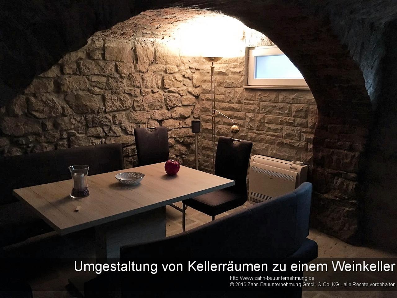Umgestaltung von Kellerräumen zu einem Weinkeller und angeschlossenem Gästebereich in besonderem Ambiente
